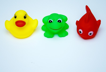 rubber swimming toys-red fish, yellow duck, green frog