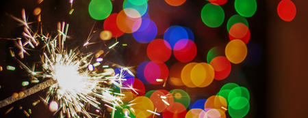 colorful fireworks on bokeh background, blur. banner. new Year Stock Photo