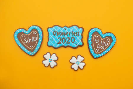 Oktoberfest Festival. Sweet gingerbread with the attributes of a German holiday. Munich, Bavaria, Germany