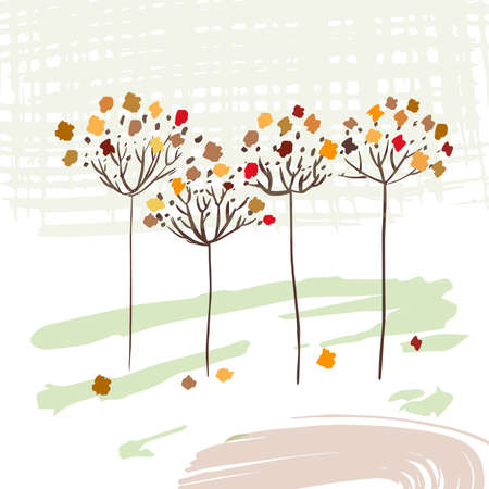 Three autumn trees are conceptual with colorful leaves. Illustration