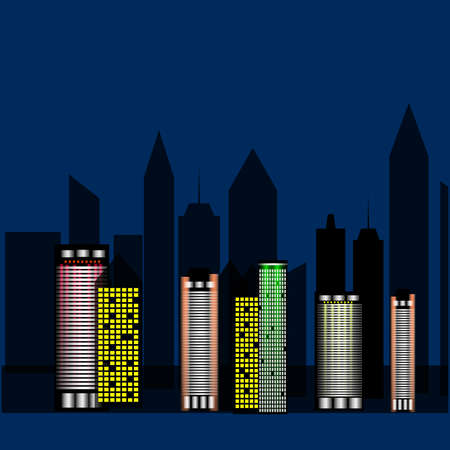 Bright lights of the night metropolis, high-rise dark buildings against the dark sky. Fashionable, stylish big city. Illustration. Stock fotó