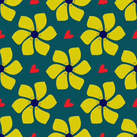 Floral pattern with yellow exotic fantasy flowers on a green background and red hearts. Illustration. Art. Seamless background.
