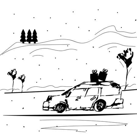 Sketch of a winter landscape with a car carrying Christmas gifts on the roof on a snowy winter day. Stock fotó