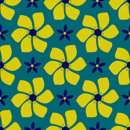 Floral pattern with yellow and blue exotic fantasy flowers on a green background. Illustration.