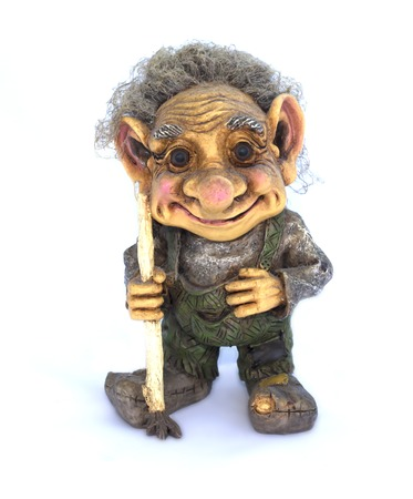 Troll figurine on a white background close-up