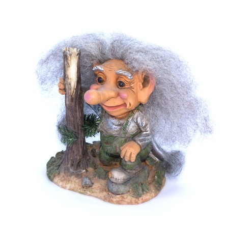 troll: Troll figurine on a white background close-up