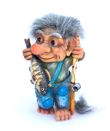 fisher: Fisher troll with fishing rod and fish figurine on a white background Stock Photo