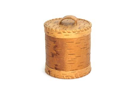birchbark: Russian birch-bark box on a white background