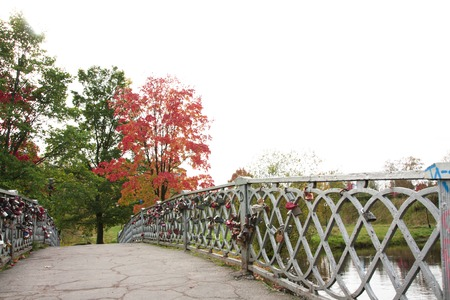 parapet: Bridge with locks. Petrozavodsk Russia 23 September 2015