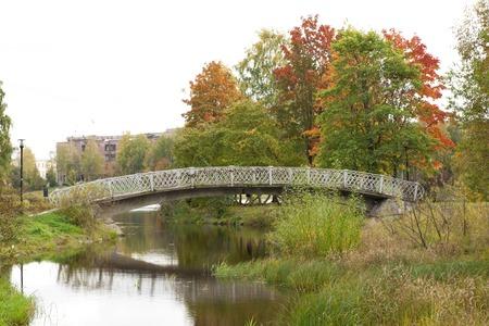 Old bridge in autumn, Petrozavodsk, Karelia Russia Stock Photo
