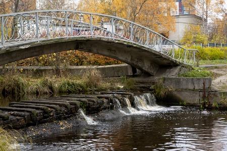 karelia: Old bridge in autumn, Petrozavodsk, Karelia Russia Stock Photo