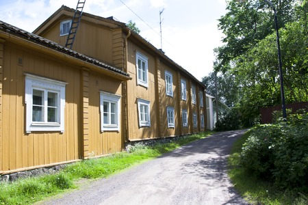 Loviisa, Finland. Historic building in the old town at summer