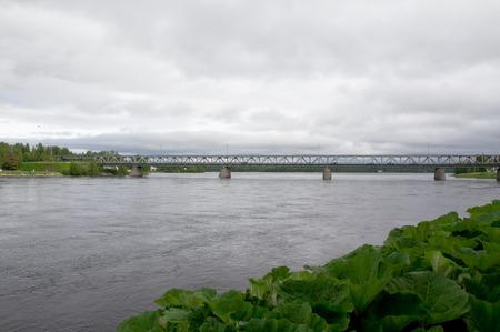 rovaniemi: Bridge in Rovaniemi at cloudy evening, Finland Stock Photo