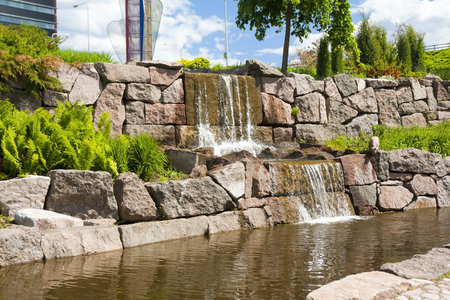 Waterfall in a city park, Kotka, Finland Stock Photo