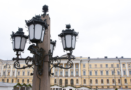 senate: Lantern of the monument to Alexander II The Liberator at the Senate Square in Helsinki.