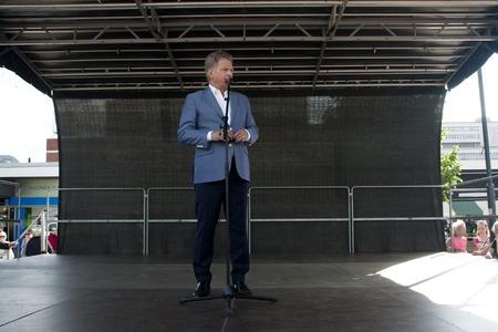 statesman: Kouvola, Finland - 30 May 2016: Sauli Niinisto, president of Finland visits the town Kouvola on May 30, 2016. Lamminmaki.