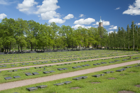 Helsinki, Finland - 04 June 2015: Cemetery Hietaniemi at summer day