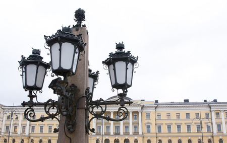 liberator: Lantern of the monument to Alexander II The Liberator at the Senate Square in Helsinki.