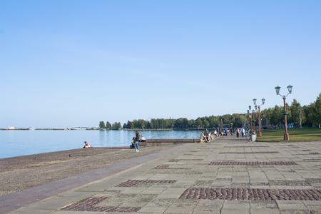 parapet: Embankment of lake Onega in Petrozavodsk city, Russia