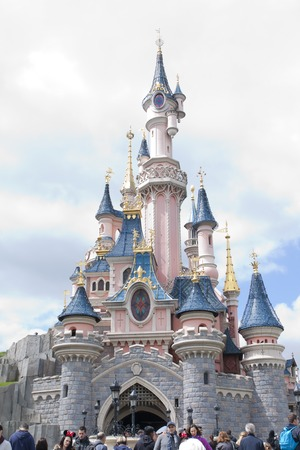 Disneyland, Paris - 14 May 2016: Disneyland Park in Paris, France. Sleeping Beauty Castle.