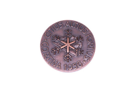 Cortina dAmpezzo 1956 Winter Olympic Games Participation medal reverse Kouvola Finland 06.09.2016 Editorial