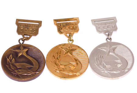 USSR Championship medals collection - golden, silver and bronze. Kouvola Finland 06.09.2016 Editorial