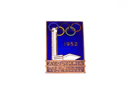 olympic symbol: 1952 Helsinki Olympic Games Participation badge 06.09.2016 Kouvola Finland Editorial