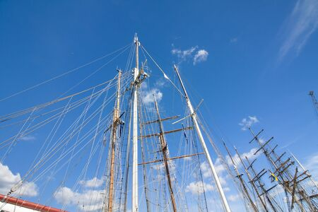 Masts of sailboat at the blue sky background. THE TALL SHIPS RACES KOTKA 2017. Kotka, Finland 16.07.2017. Editorial