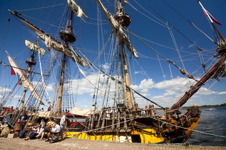 historical events: THE TALL SHIPS RACES KOTKA 2017. Kotka, Finland 16.07.2017. Ship Shtandart in the port of Kotka, Finland Editorial