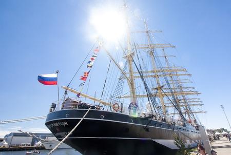 THE TALL SHIPS RACES KOTKA 2017. Kotka, Finland 16.07.2017. Barque Kruzenshtern in the port of Kotka, Finland Editorial