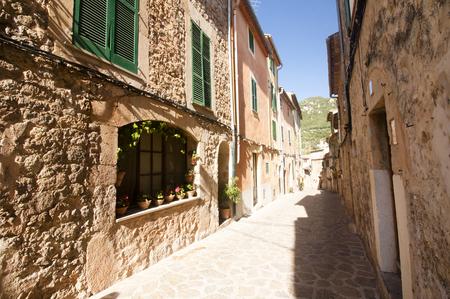 Beautiful street in Valldemossa, famous old mediterranean village of Majorca Spain