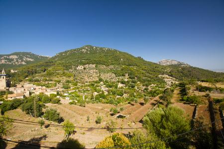 Beautiful panorama of Valldemossa, famous old mediterranean village of Majorca Spain