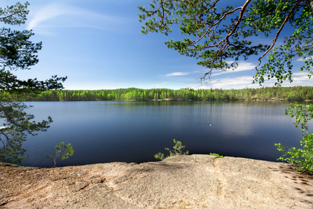 Beautiful lake in the national park Repovesi, Finland, South Karelia Stock Photo