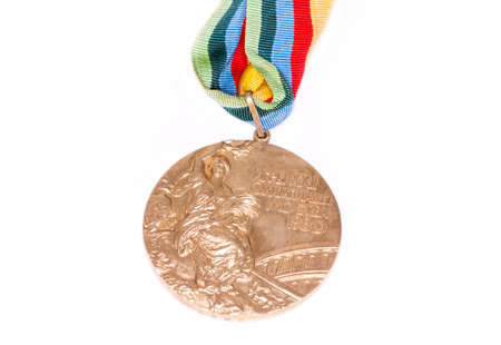 Moskow 1980 Summer Olympic Games Gold medal for boxing, obverse. Kouvola Finland 26.03.2017. Words on medal - XXII Olympic Games Moskow, boxing.