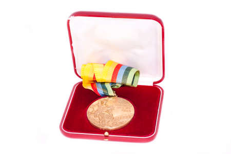 Moskow 1980 Summer Olympic Games Gold medal for boxing, in box, obverse. Kouvola Finland 26.03.2017. Words on medal - XXII Olympic Games Moskow, boxing