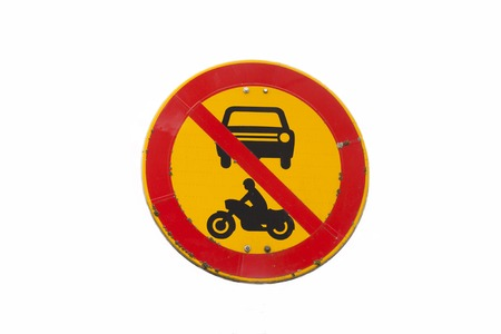 European round traffic sign, the passage of vehicles and motorcycles prohibited. Without pole. Isolated on white