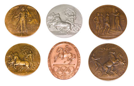 Collection of Olympic Games Participation medals reverse and obverse. London 1908, Stockholm 1912, 1956, Antwerp 1920. Kouvola Finland 08.04.2018