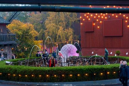 HELSINKI, FINLAND -OCTOBER 12, 2018: The Carnival of Light event at the Linnanmaki amusement park in Helsinki, Finland.