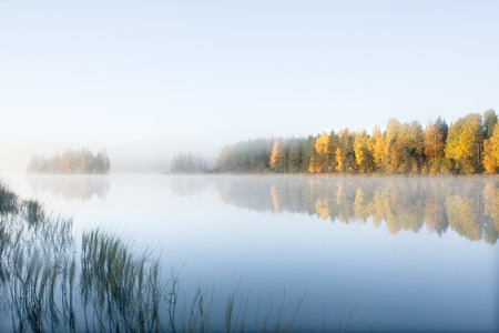 Beautiful autumn morning landscape of Kymijoki river waters in fog. Finland, Kymenlaakso, Kouvola Stok Fotoğraf