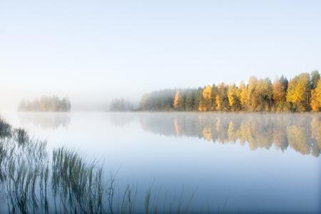 Bellissimo paesaggio mattutino autunnale delle acque del fiume Kymijoki nella nebbia. Finlandia, Kymenlaakso, Kouvola