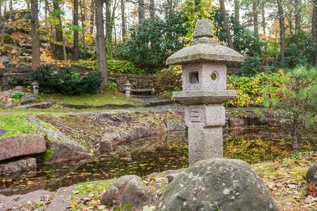 Japanese stone lanterns in Sapokka park in Kotka, Finland. Stock Photo