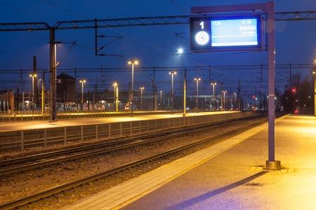 KOUVOLA, FINLAND - NOVEMBER 8, 2018: Railway station at night