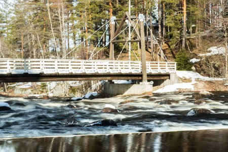 Long exposure photo. Dam on the river Jokelanjoki, Kouvola, Finland Stockfoto