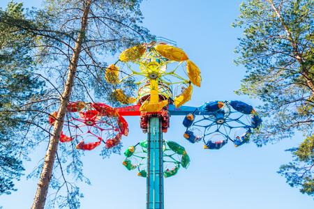 Kouvola, Finland - 18 May 2019: Ride Taifun in motion in amusement park Tykkimaki