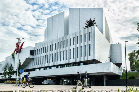 Helsinki, Finland - June 12, 2019: Toolo bay in the City Park in Helsinki, Finlandia Hall congress and event venue