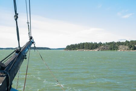 View from the sailboat of sea and archipelago at sunny summer day in Naantali, Finland