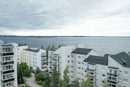 Tampere, Finland - June 25 2019: City view and boat on lake Nasijarvi