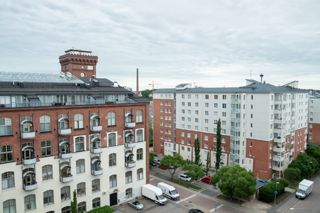 Tampere, Finland - June 25 2019: City view to the apartment buildings and hotel