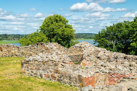 Kuusisto castle ruins at sunny summer day in Kaarina, Finland.