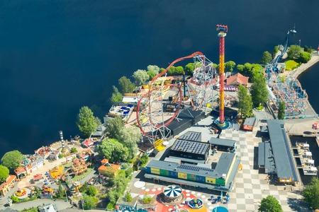 Tampere, Finland - 24 June 2019: Beautiful top view of amusement park Sarkanniemi.